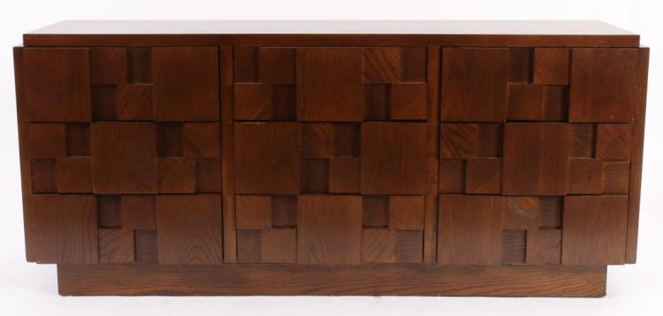Lane Nine Drawer Brutalist Dresser, c. 1960