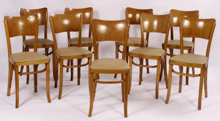 9 Thonet Bros. Wood Side Chairs,c.1950