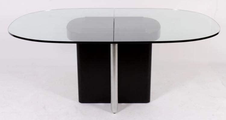 Glass Lacquer & Steel Extension Dining Table