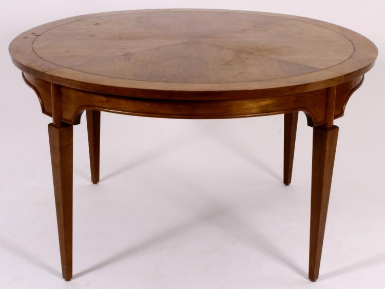 Midcentury Oak Center Table with Parquetry Top