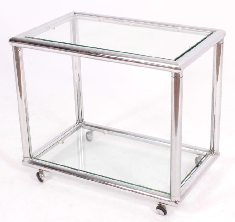Midcentury Chrome and Glass Side Table on Casters.