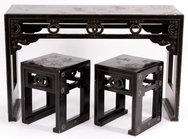 Asian Lacquered Console Table and Benches