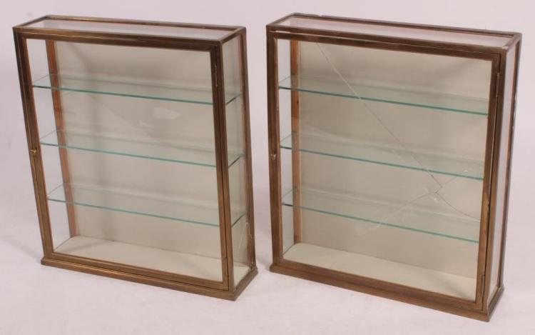 Pair of Brass Framed Wall Mounted Curio Cabinets