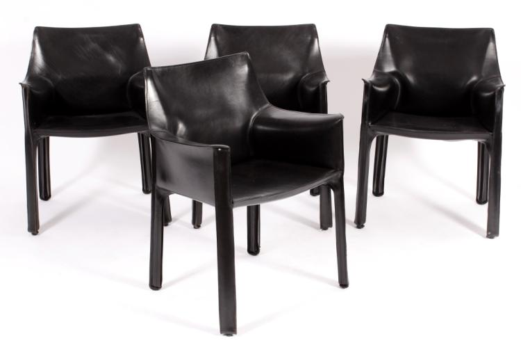 4 Bellini Leather Cab Chairs for Cassina Italy
