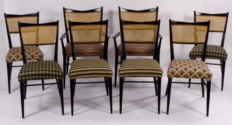 Set of 8 Paul McCobb Lacquer& Rattan Dining Chairs