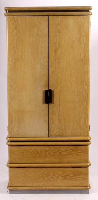 Jay Spectre Armoire, c. 1980, Bleached Oak & Steel