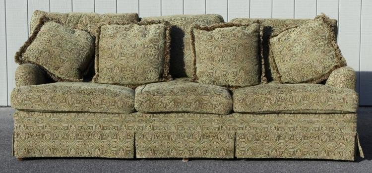 Custom three-seat sofa with chenille upholstery
