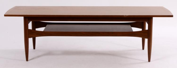 Midcentury Teak Coffee Table with Shelf