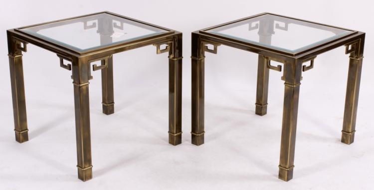 Pr. of Contemporary Brass End Tables,20th C.
