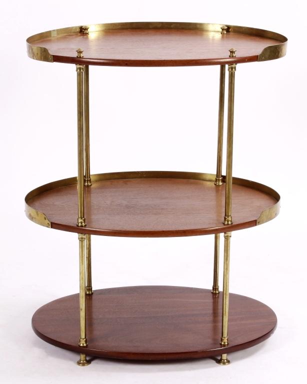 Midcentury 3-Tier Wood & Brass Tea Table