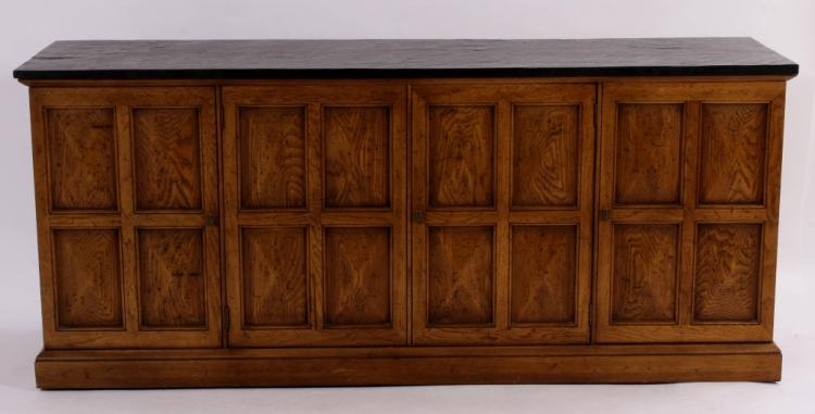 Walnut Finish Long Cabinet, Black Slate-Style Top