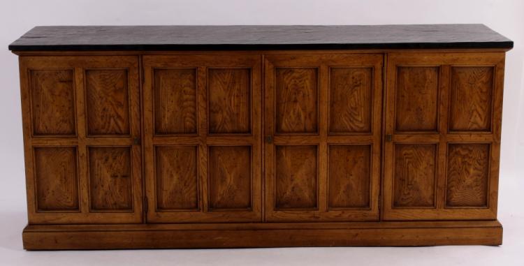 Walnut Finish Long Cabinet, Black Slate-Style Top