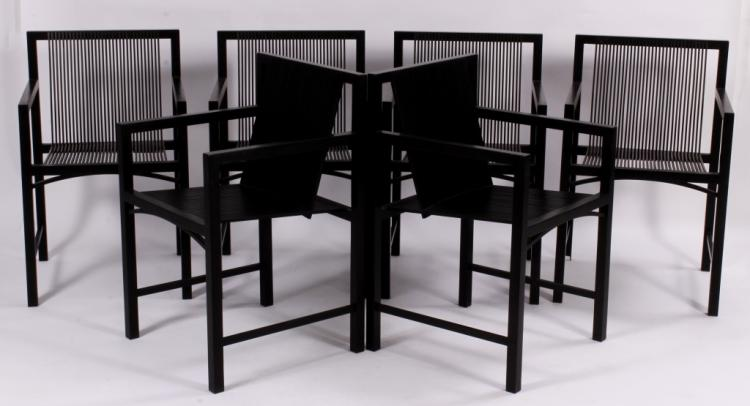Set of 8 Modernist Black Lacquer Dining Chairs.