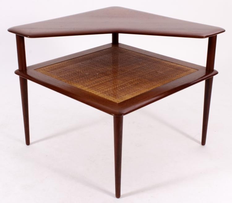 Peter Hvidt Teak Wood and Cane Step Table, 20th C