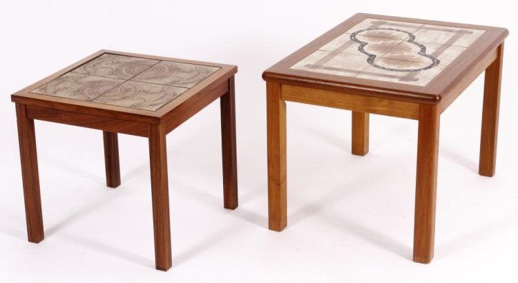 2 Danish Teak and Ceramic Tile End Tables