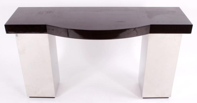 Chrome and Lacquered Wood Console Table