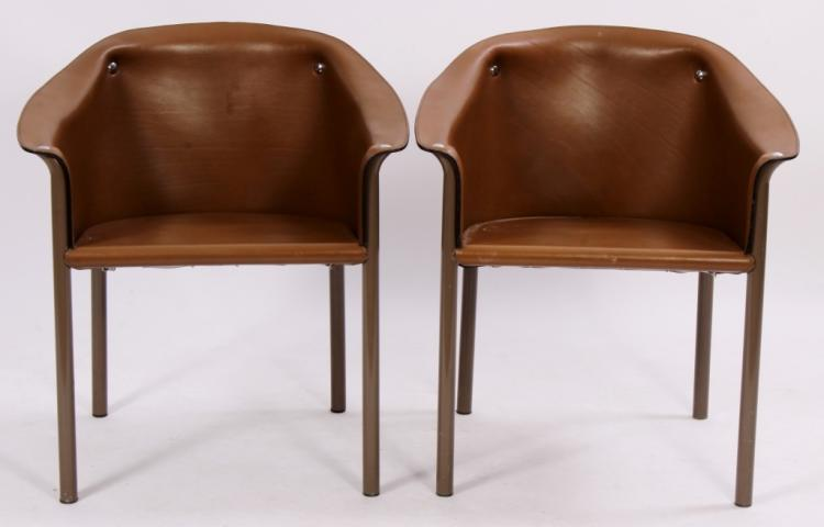 Pr. of Contemporary Leather/Metal ArmChairs,20th C