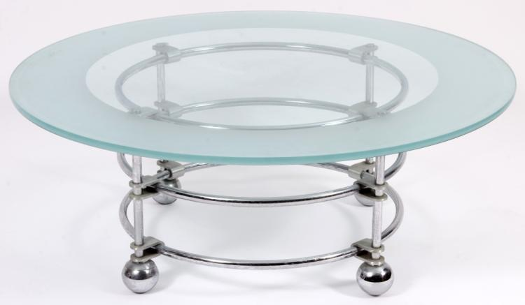 Jay Spectre Chrome,Glass Cocktail Table