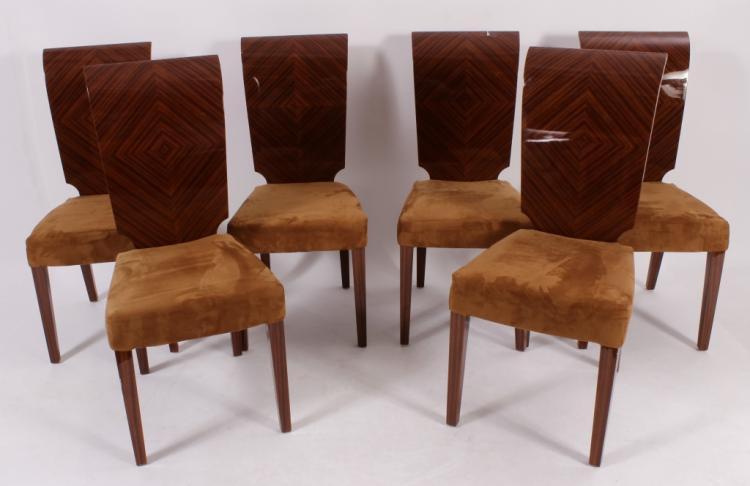 Set of 6 Makassar Ebony Dining Chairs