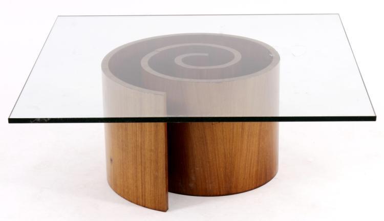 Vladimir Kagan Style Walnut/Glass