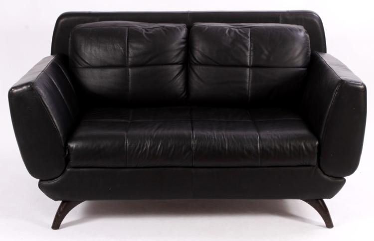 Nocoletti Italy Black Leather Sofa