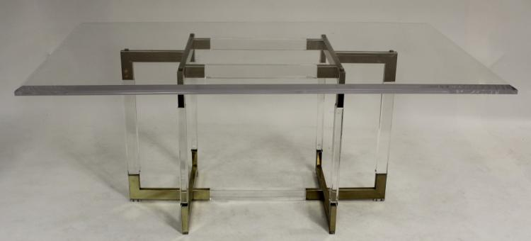 Modern Acrylic and Brass Dining Table 20th C.