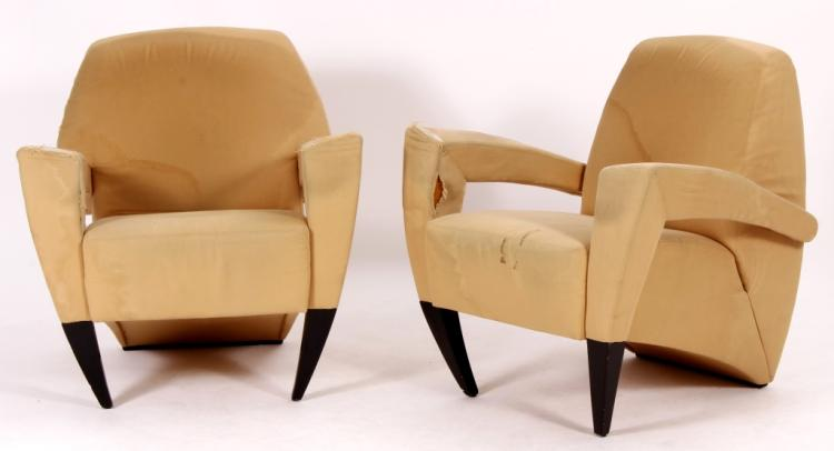 Pr. of Italian Modern Upholstered Club Chairs
