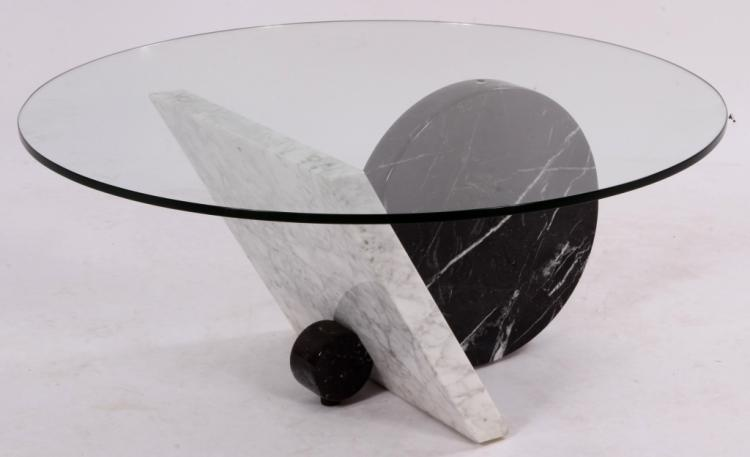 Geometric Marble Base & Glass Top Cocktail Table