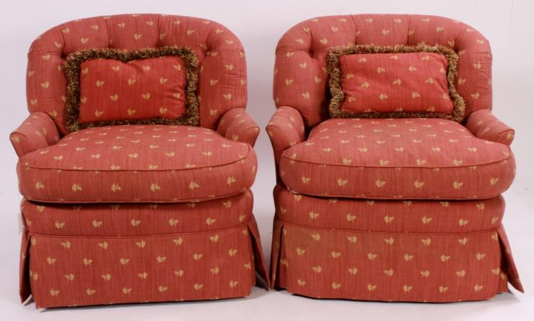 Pr. of Custom Upholstered Tufted Armchairs