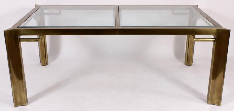 Custom Modern Brass/Glass Dining Table, 20th C.