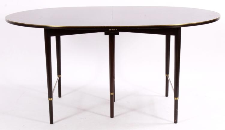 Paul McCobb Mahogany and Brass Dining Table