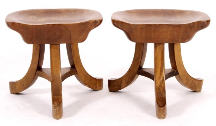 Pr. of Modern Wood Carved Stools,20th