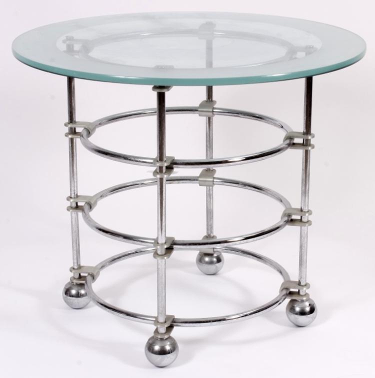 Jay Spectre Chrome,Glass Side Table