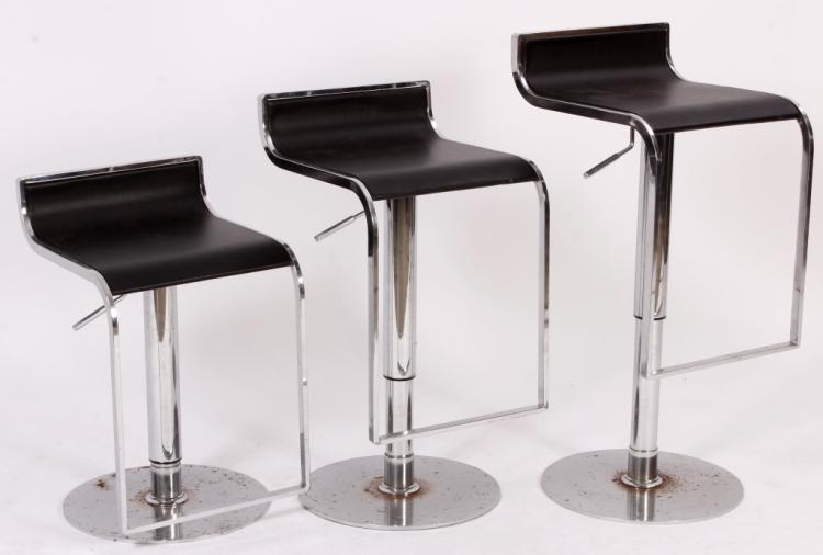 3 Modern Chrome/Leather Stools,20th C.