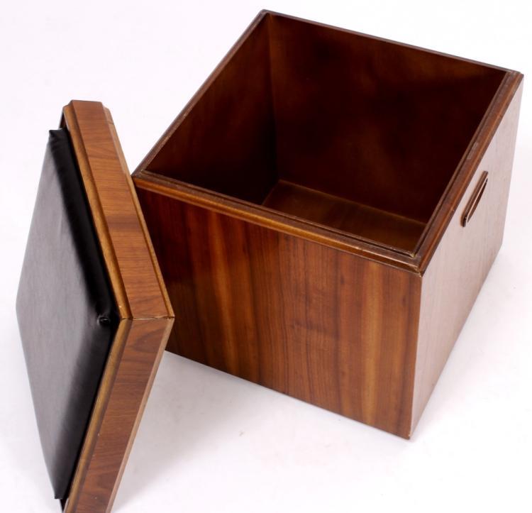 Mid Century Modern Lane Walnut Rolling Cube