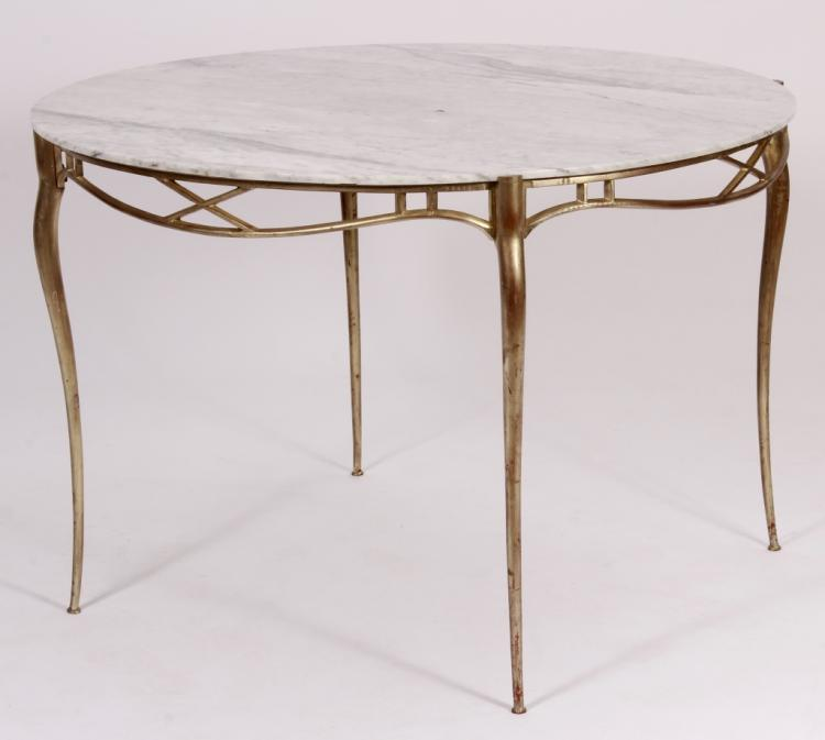 Contemporary Metal/Marble Dining Table