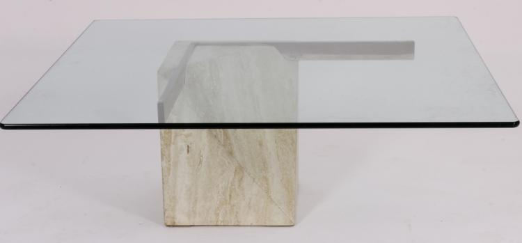 Contemporary It. Travertine, Metal and Glass C/T