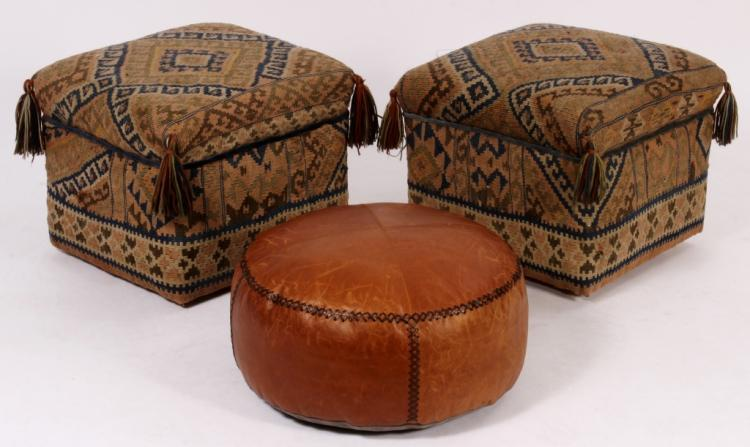 Pair of Kilim Ottomans and a Leather Hassock