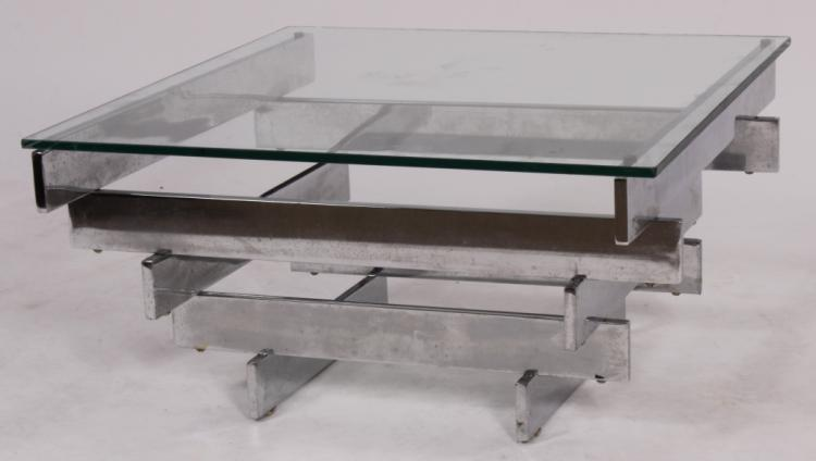 Paul Mayen Chrome & Glass Coffee Table for Habitat