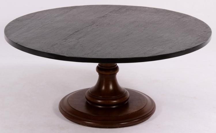 Walnut Finish Round Coffee Table, Slate-Style Top