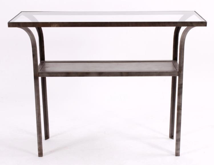 Midcentury Steel and Glass Console/Garden Table