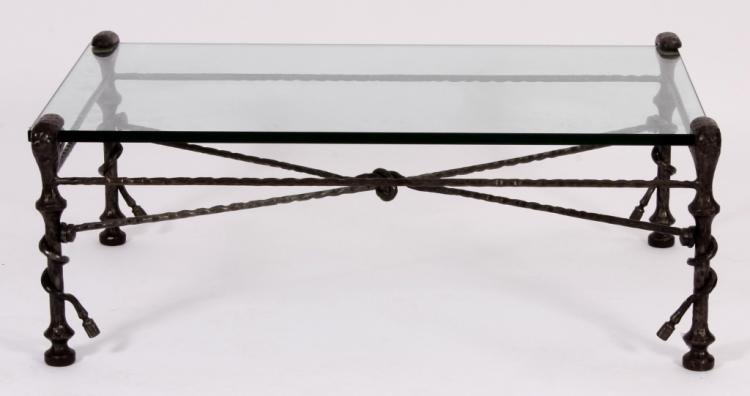 Bronze & Glass Cocktail Table,Manner of Giacometti