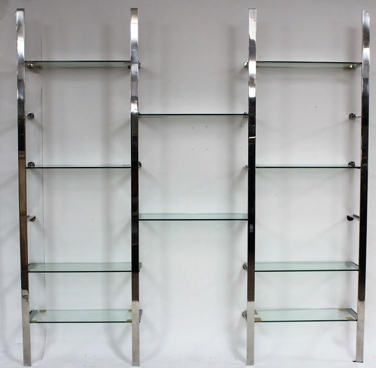 Midcentury Chrome and Glass Shelf Unit