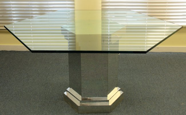 Mirrored Hexagon Dining Table w Glass Top