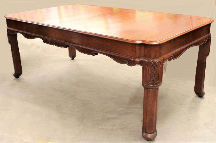 Cambodian Carved Teak Extension Dining Table