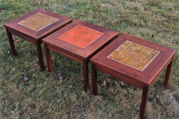 Brown Saltman Midcentury: 3 Walnut & Tile Tables