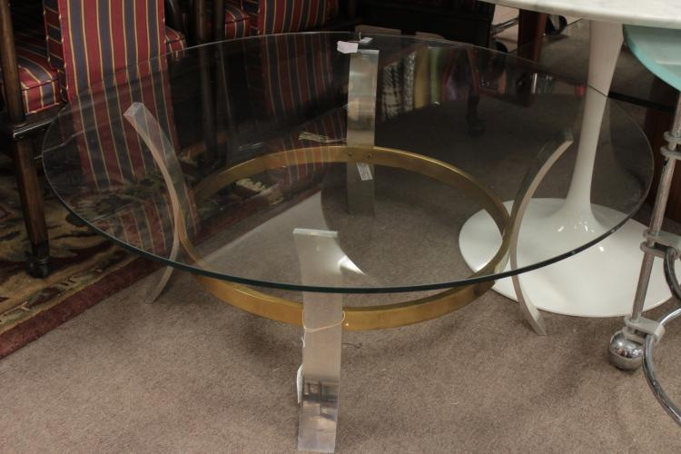 Midcentury Brass, Steel and Glass Cocktail Table