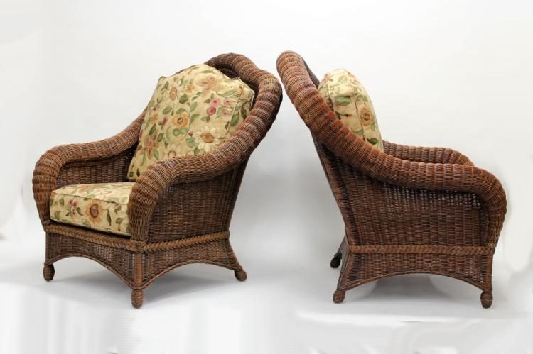 Pair Of Ethan Allen Large Wicker Patio Chairs