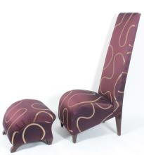 High Backed Slipper Chair with Ottoman, 20th c.