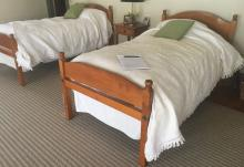 Pair of Eldred Wheeler Tiger Maple Twin Beds